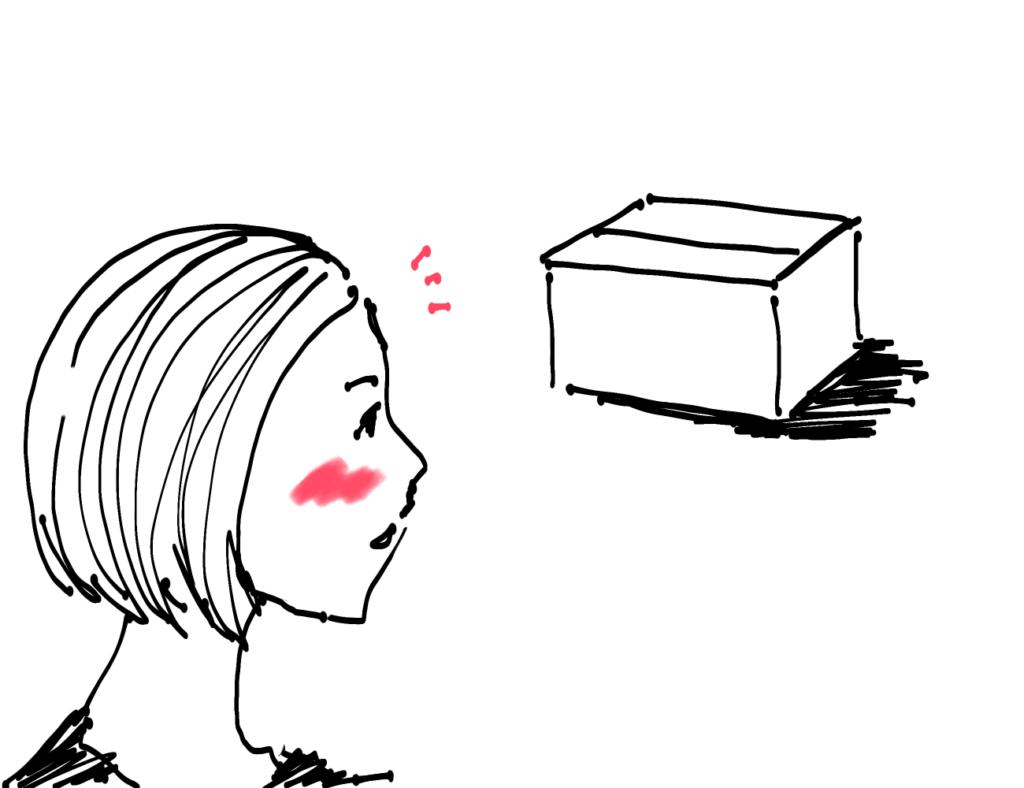 箱を見つける女性のイメージ